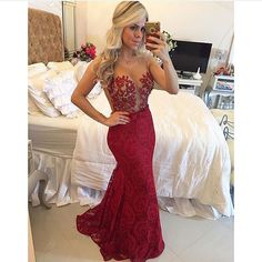 2017 illusion sheer burgundy lace prom dresses long red wine color party dress sexy see through gala gowns floor length Straps Prom Dresses, Elegant Bridesmaid Dresses, Prom Dress Stores, Prom Dresses 2016, Sexy Dresses, Prom Gowns, Party Dresses, Wedding Dresses, Gold Evening Gowns