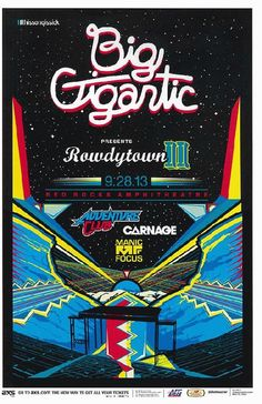 Concert poster for Big Gigantic at Red Rocks in Morrison, CO in 2013.  11x17 inches on card stock.