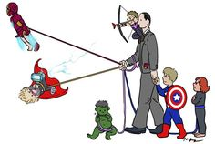 Coulson walking baby Avengers. This is so... It just makes me happy. Rather inexplicably. I suppose that's how a lot of these things get around. They make us happy. :)