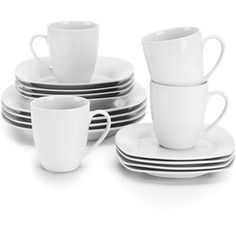 Ten Strawberry Street Simply White Square 16-Piece Dinnerware Set. Get both of these for out 12 place settings. Comes in round as well