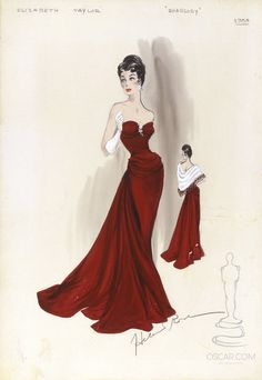 Music and high fashion made a classic pairing in the opulent 1954 MGM film RHAPSODY starring Elizabeth Taylor, the subject of this Helen Rose costume design drawing. Vintage Fashion Sketches, Fashion Illustration Sketches, Fashion Design Sketches, Fashion Designers, Oscar Fashion, 1950s Fashion, Ladies Fashion, Fashion History, Fashion Art