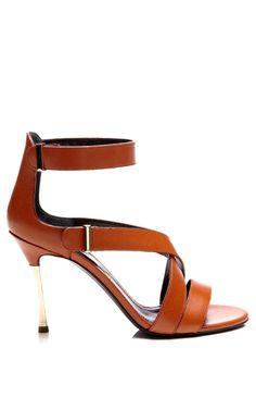 Metallic-Heel Leather Sandals by Nicholas Kirkwood - Moda Operandi