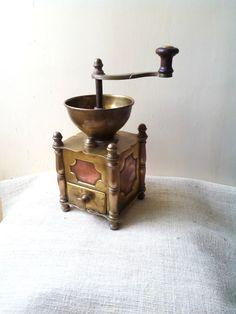 Seltene antike Kupfer Kaffeemühle, Kaffee-Mühle, Moulin ein Café-huge