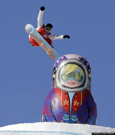 The first breakout star of the 2014 Sochi Olympics wasn't an athlete at all. It was a giant matryoshka doll on the slopestyle course at the Rosa Khutor E. Winter Olympics 2014, Summer Olympics, Matryoshka Doll, Centerpiece Decorations, Wooden Dolls, Team Usa, Olympians, Winter Sports, Sports