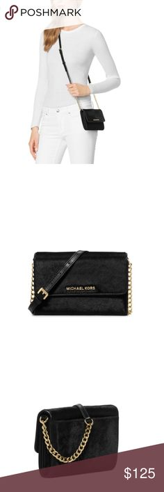 🌻END OF SUMMER SALE🌻Michael Kors Crossbody Bag Michael Kors Black Calf Hair Crossbody with gold chain link, adjustable strap, id/card slots and phone slot. It's the perfect wallet/bag. Brand new. Can fit any iphone size (regular & plus).🌻FIRM PRICE🌻                            🌵n o • t r a d e s🌵                    s m o k e • f r e e • h o m e             s a m e/n e x t • d a y • s h i p p i n g Michael Kors Bags