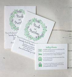 Letterpress Wedding Invitation Floral wedding by CocoPress on Etsy