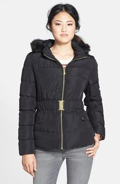 Via Spiga Faux Fur Trim Hooded Puffer Jacket (Online Only) available at #Nordstrom