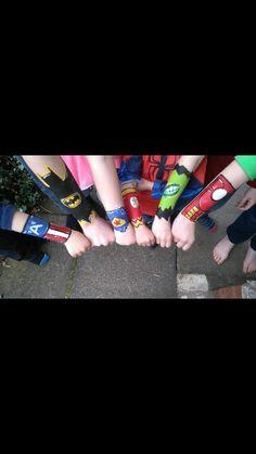 Superheroes arm face paints