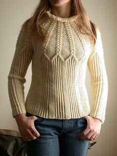 Aran, 1397 yards, large.    Yoke Pullover pattern by Kirsten Cowan.  cabled yoke sweater front by technolope, via Flickr