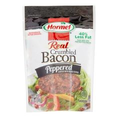 Hormel, Crumbled Bacon, Peppered, Pouch (Pack of Coated with black pepper Hormel Bacon, Brown Sugar, The Cure, Oatmeal, Stuffed Peppers, Diet, Breakfast, Walmart, Gourmet