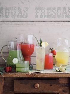 Aguas Frescas...(Pineapple Ginger Agua Fresca, Cucumber Lemongrass Agua Fresca, and Strawberry Thyme Agua Fresca)