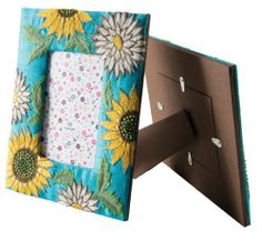 Photo Frame with Sunflower Embroidery fits 4''x6'' photos  intricate sunflower embroidery around the frame. Also available in the sunflower range is a matching jewellery box and note book. Hand made by skilled embroiderers near Delhi. £15.47 http://www.amazon.co.uk/dp/B00ITW08GW/ref=cm_sw_r_pi_dp_xcyptb0AXMM7E
