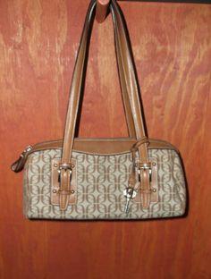 FOSSIL Brown Signature Jacquard Satchel Handbag