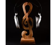 Wooden headphone stand by HollossyWoodworks on Etsy