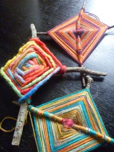 """Ojos de Dios Tutorial (OP sez: """"...Originating in Mexico the Huichol people call their God's eyes 'Sikuli.' which means """"the power to see and understand things unknown."""" When a child is born the central eye is woven by the father, then one eye is added for every year of the child's life until the child reaches the age of five. The result is a mysterious and magical object...."""")"""