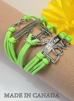 Womens Green Infinity Bracelet Anchor Dream Love WTAW Silver Charm K915grs