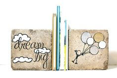 Rustic Childrens Bookends- dream big -Nursery Decor/ Kid Room Decor/ Woodland Nursery.