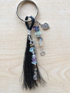 """Star"" Keychain Sterling silver wire wrapped horse hair tassel with Fluorite Stones and Swarovski Crystal"