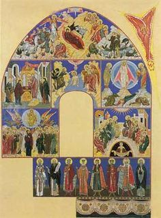 Christmas and other holy scene of the life of Jesus Christ and Virgin Mary. Sketch of murals for the south wall of the church of the Assumption in Olshany - Ivan Bilibin