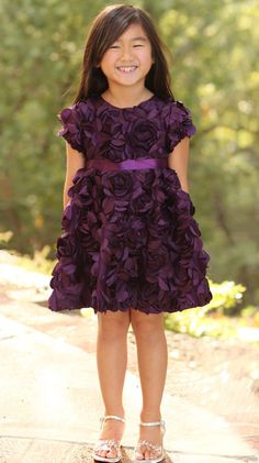 Bunnies Picnic - Halabaloo Eggplant Purple Roses Bouquet Dress sz 4 only - Boutique Clothing for Girls and Boys