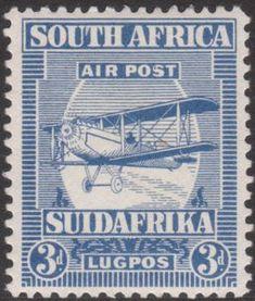 Stamp: Biplane (South Africa) (Airmail) Mi:ZA 18,Sn:ZA C2,Yt:ZA PA2,Sg:ZA 27