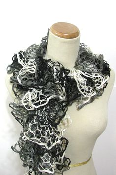Black Gray White Ruffled Hand Knit Scarf by ArlenesBoutique,