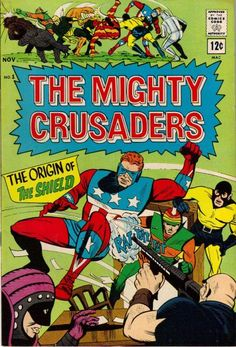 "The Mighty Crusaders #1 - Mighty Comics Group -  ""The Mighty Crusaders Vs. The Brain Emperor""  During the official formation of the Mighty Crusaders, the heroes are attacked by five aliens and their leader, The Brain Emperor. Written by Jerry Siegel with Paul Reinman & Frank Giacoia art."