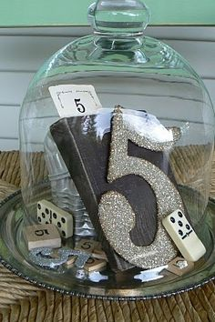 Table numbers at a wedding. But how fun for a birthday party? Or anniversary centerpieces? Do It Yourself Wedding, The Bell Jar, Bell Jars, Wedding Table Numbers, Deco Table, Centre Pieces, Anniversary Parties, Business Anniversary Ideas, Wedding Anniversary