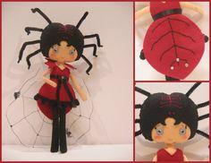 PDF.Lady Spider. Muñeca de fieltro. Halloween por KokolitoDesign