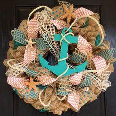 Anchor mesh wreath, burlap nautical wreath, beach wreath,front door beach wreath, nautical wreath