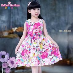 e3d4a7428d1 Kids girls summer 2016 new cotton dress big virgin princess dress Korean  Floral skirt children Summer