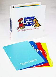 Custom Ring Binders, Custom Notebooks & Folders by Sneller.  Custom Promotional Packaging.  Custom Marketing Materials.  www.snellercreative.com.  Sneller Creative, Buster Brown & Co, Style Guide Ring Binder & Index Tab Dividers