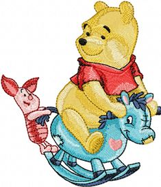 Winnie Pooh and Piglet riding Rocking Horse machine embroidery design
