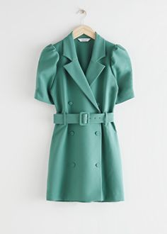 Puff Sleeve Belted Mini Dress - Green - Mini dresses - & Other Stories Petite Outfits, Cute Outfits, Fashion Story, Fashion Outfits, Party Dresses Online, Green Dress, Double Breasted, Personal Style, Shirt Dress