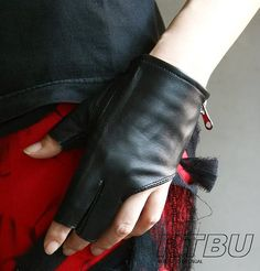 Genuine Leather Lambskin Sheepskin Punk Rocker Biker Dancer Fingerless Zip Glove (for 18cm palm)