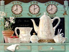 Time for Coffee displays another detailed antique coffee set. In this oil painting we see the coffee set already used with have eaten strawb...
