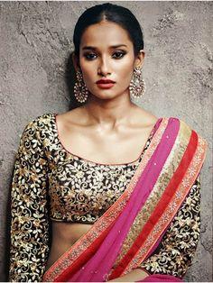 Rani Shimmer Georgette Saree