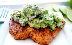 Grilled Salmon with Avocado Salsa (Healthy Salmon Recipe!) Gegrilltes Lachsrezept mit Avocado-Salsa & Lachs (VIDEO) The post Gegrillter Lachs mit Avocado-Salsa (Gesundes Ganzes-Lachs-Rezept!) & Dinner Recipes appeared first on Salmon recipes . Whole30 Salmon Recipes, Avocado Recipes, Fish Recipes, Seafood Recipes, Paleo Recipes, Cooking Recipes, Grilling Recipes, Tilapia Recipes, Recipies