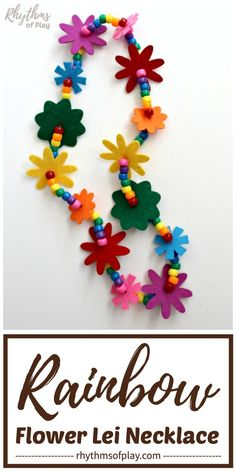 Learn how to make a flower lei necklace with this easy tutorial. Flower leis made with felt flowers and beads are a great gift idea for graduations and weddings, and, make fun birthday party favors that both kids and adults will LOVE! Paper Bag Crafts, Tissue Paper Crafts, Craft Projects For Kids, Crafts For Kids To Make, Kids Crafts, Flower Lei, Flower Crafts, String Crafts, Bead Crafts