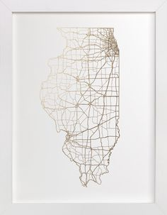 Illinois Map by GeekInk Design at minted.com