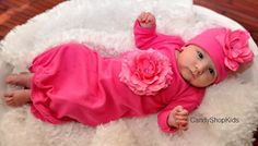 TakeHomeOutfit for Baby Girl  Fuchsia Flower by by CandyShopKids, $33.00