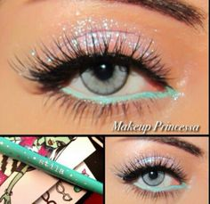 Pretty sparkly makeup...but I'd do it with different oclors