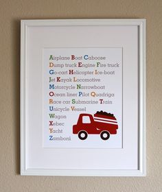 Baby Boy Nursery Art, Transportation Alphabet with Truck, 8x10, Unframed. $20.00, via Etsy.