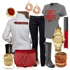 What I would actually be wearing for the San Francisco Weather. However, love this Gameday Style! Forty Niners, Sf Niners, 49ers Game, 49ers Outfit, Printed Shorts, What To Wear, Style Me, Autumn Fashion, Cute Outfits