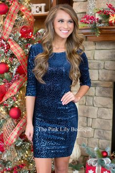Your Night To Shine Navy Sequin Dress!!