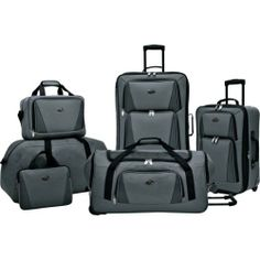 Jetset in style with this luggage set, perfect for weekend jaunts and exotic getaways. Showcasing 3 rolling suitcases, a foldable duffel, and a tote,. Best Luggage, Luggage Sets, Duffel Bag, Tote Bag, Weekender Bags, Dobby Fabric, Rolling Bag, Joss And Main, Travel Bags