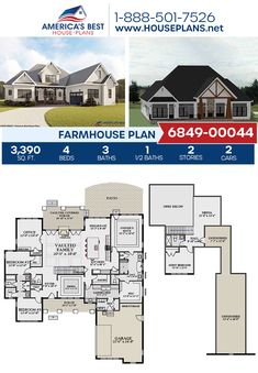 A best seller, Plan 6849-00044 offers a Farmhouse design with 3,390 sq. ft., 4 bedrooms, 3.5 bathrooms, split bedrooms, a guest room, a breakfast nook, a bonus room, a home office, a media room, and a mudroom. #farmhouse #architecture #houseplans #housedesign #homedesign #homedesigns #architecturalplans #newconstruction #floorplans #dreamhome #dreamhouseplans #abhouseplans #besthouseplans #newhome #newhouse #homesweethome #buildingahome #buildahome #residentialplans #residentialhome Country House Plans, Dream House Plans, House Floor Plans, Modern Farmhouse Plans, Farmhouse Design, Farmhouse Style, Tv Rooms, Movie Rooms, Game Rooms