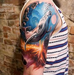 Cosmic Whale Sleeve | Best tattoo ideas & designs