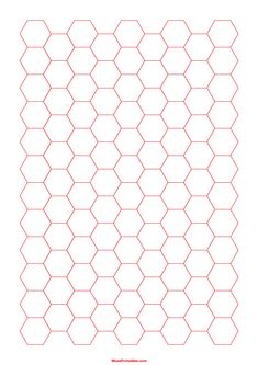 Printable Half Inch Red Hexagon Graph Paper for A4 Paper Printable Graph Paper, Templates Printable Free, Printable Coloring, Free Printables, Types Of Graphs, Dimensional Shapes, Stationery Store, A4 Paper, Wall Patterns
