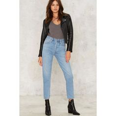 A Gold E Jamie High Rise Jeans ($158) ❤ liked on Polyvore featuring jeans, blue, tapered leg jeans, high waisted distressed jeans, relaxed fit jeans, blue high waisted jeans and blue jeans